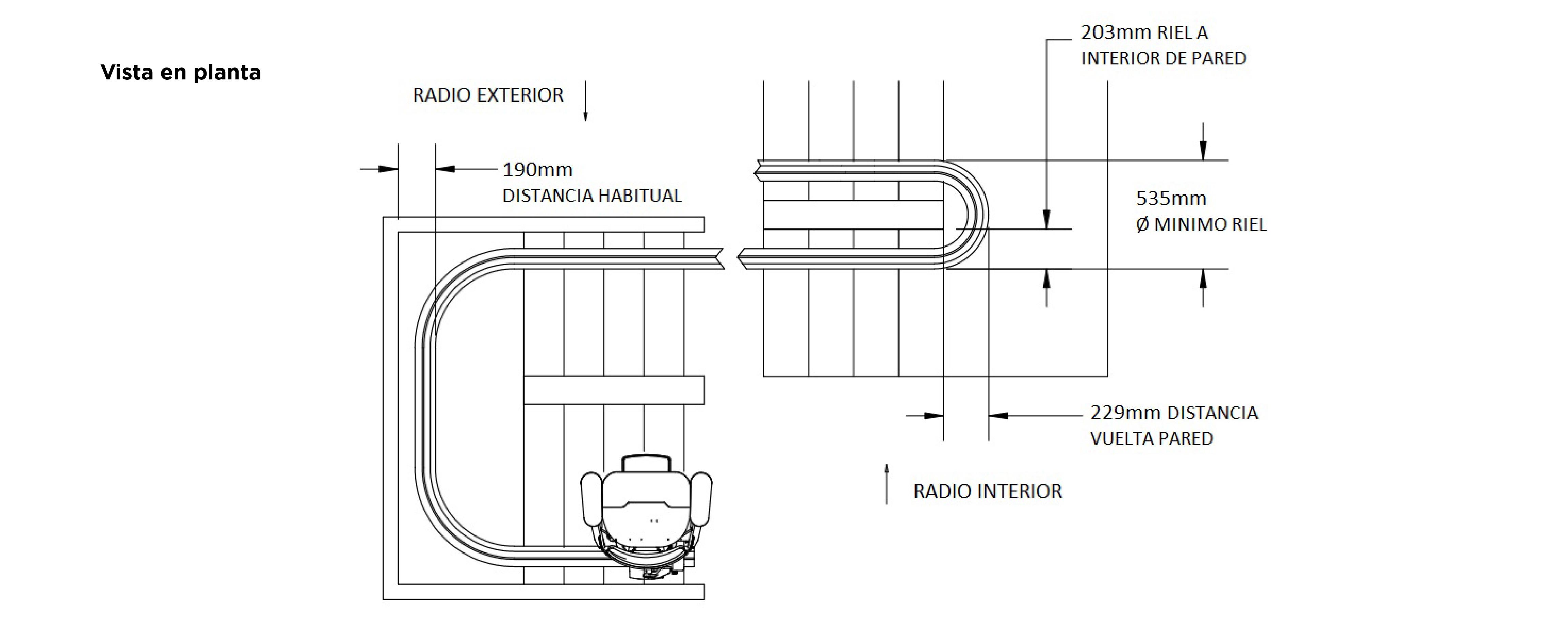 Plano Silla montaescaleras curva Bruno